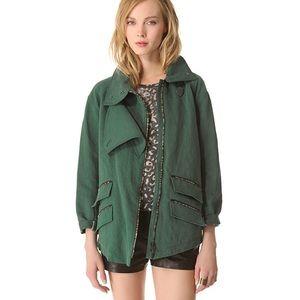 Kelly Wearstler Ornamented Linen Green Jacket